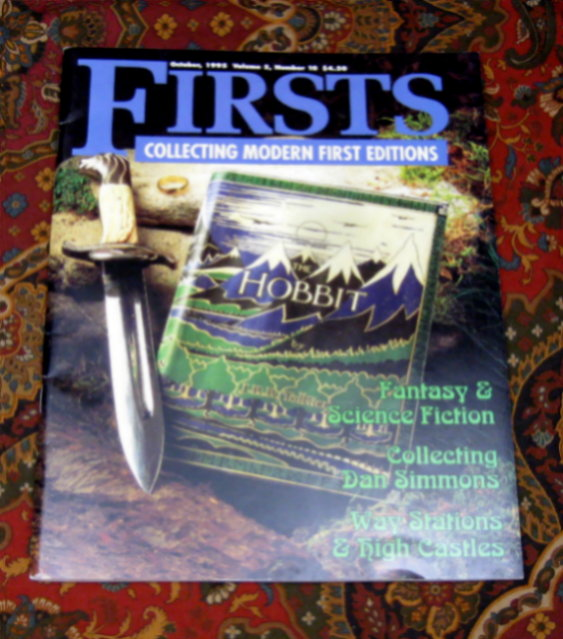 Firsts Magazine, Cover Story Featuring The Hobbit and J.R.R. Tolkien. J. R. R. Tolkien.