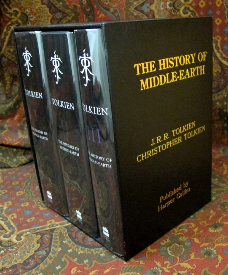 Custom Leather Slipcase for the 3 Volume History of Middle Earth. J. R. R. Tolkien.