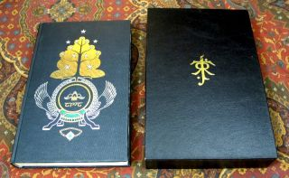 Custom Slipcase for The Allen & Unwin De Luxe 1 Volume Lord of the Rings, India Paper Edition, Black Leather Covered, Felt Lined