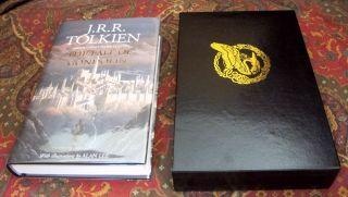 Custom Leather Slipcase for The Children of Hurin, The Silmarillion, Unfinished Tales, Beren and Luthien, and The Fall of Gondor, UK and US Editons, Full Leather